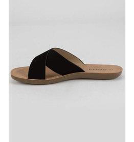 Black Cross Strap Slide Sandal