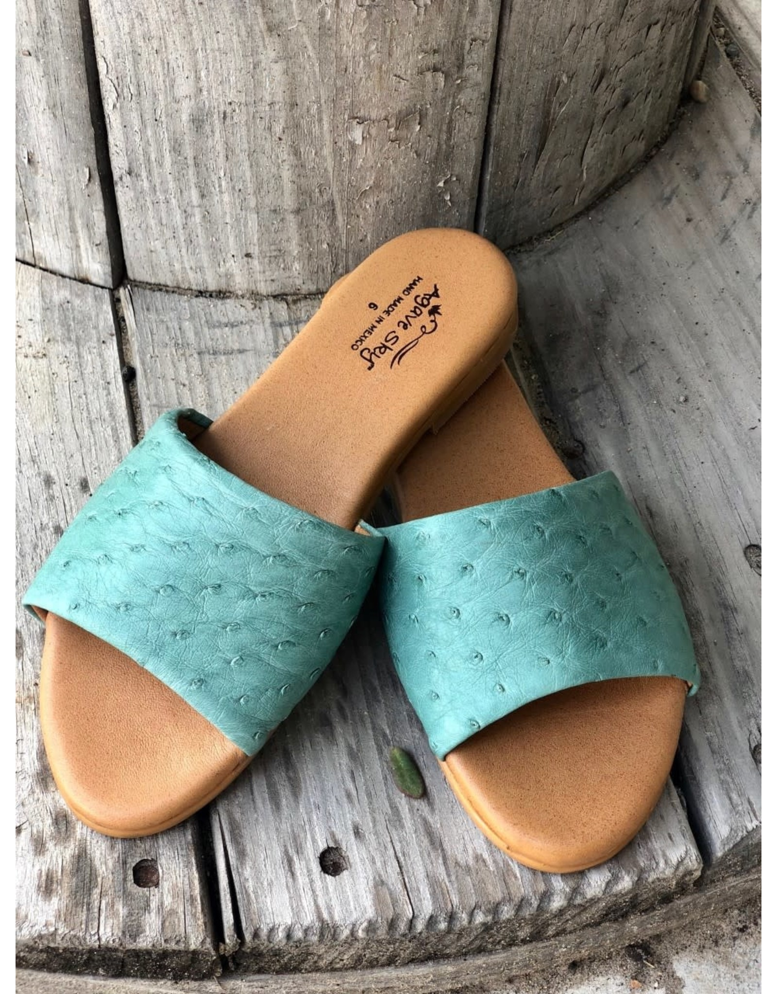 Agave Sky Ostrich Sandals in Dusty Turquoise