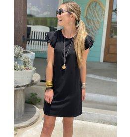 Flutter Sleeve Dress in Black