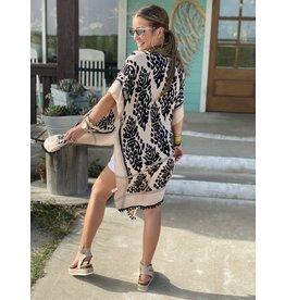 Black and Cream Damask Print Kimono - One Size