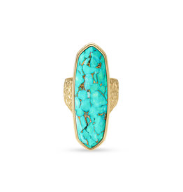 Kendra Scott Layla Ring Gold Bronze V. Teal Size 8