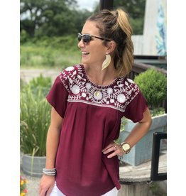 Fiesta Top Embroidered in Maroon