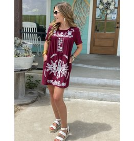 Maroon w/White Embroidered Dress