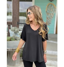 Another Love Taylor V Neck Black Tee