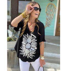 Black w/White Embroidery Top