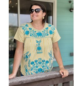 Gingham Top w/Turquoise Embroidery