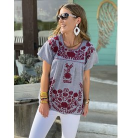Denim Striped Maroon Embroidered Top