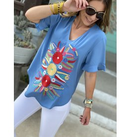 Chambray Top w/Multi Embroidery