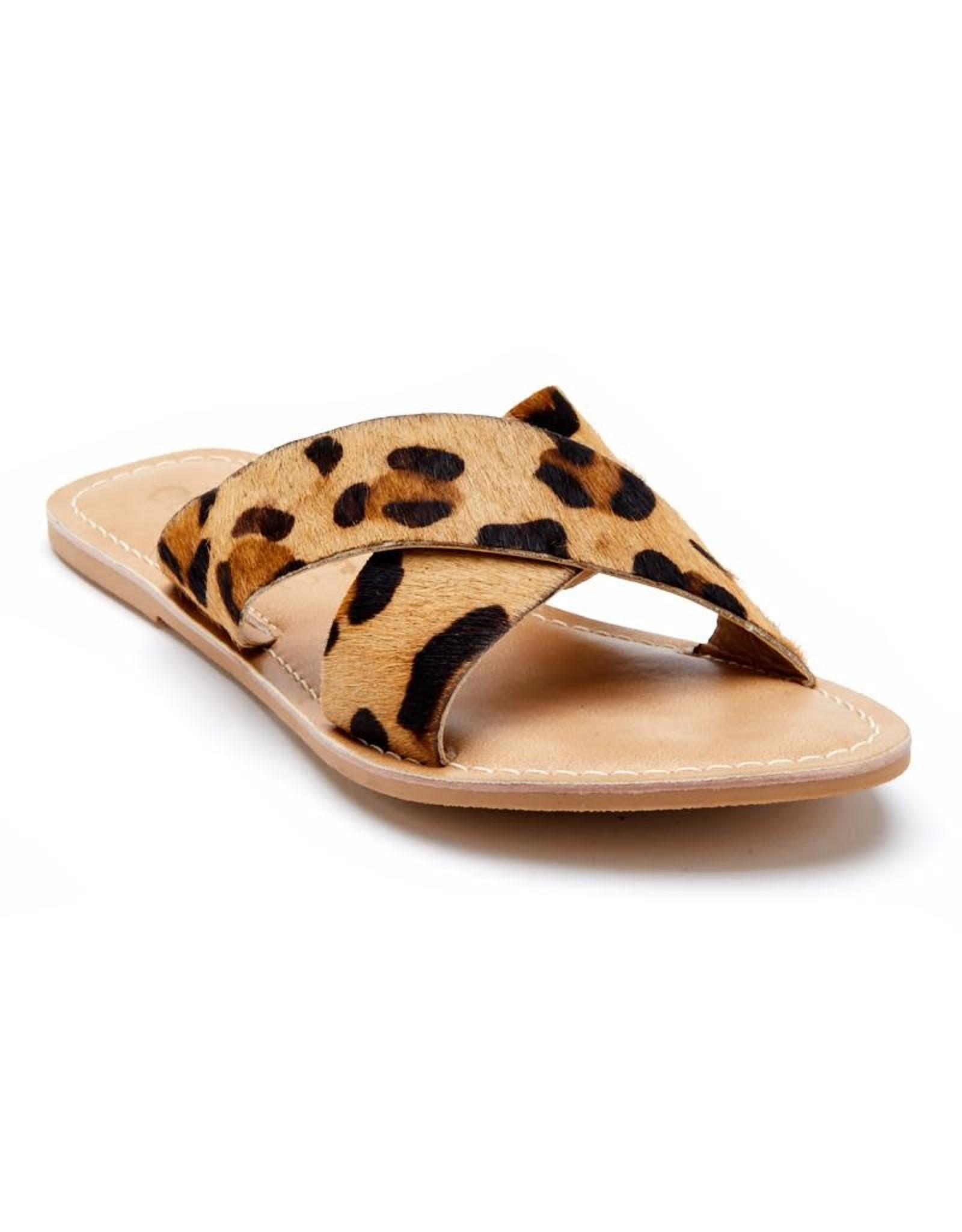 Pebble Leopard Cowhair Sandal