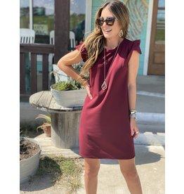 Flutter Sleeve Dress in Wine