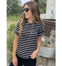 Short Sleeve Ruffle Sleeve in Black & White Stripe