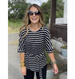 Dolman Sleeve w/Waist Tie in Black & White Stripe
