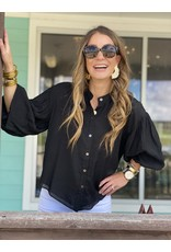 Puff Sleeve Button Down Top in Black