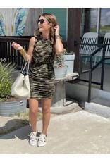 Camo Ruched Sleeveless Dress