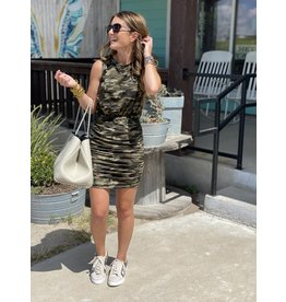 Camo Ruched Sleeveless Dress
