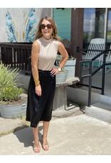 Black Satin Wrap Skirt