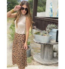 Taupe & Black Leopard Midi Skirt