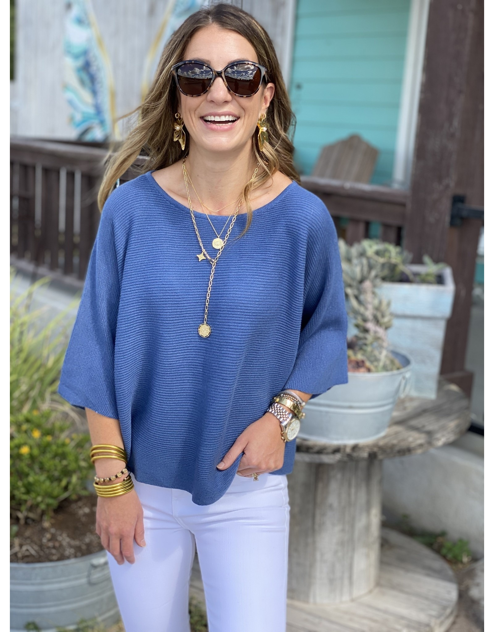 Denim Blue Knit Short Sleeve Top
