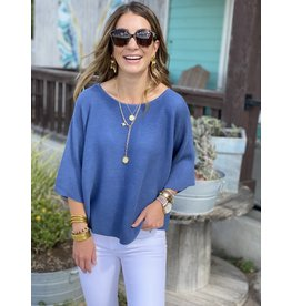 Denim Blue Knit Short Sleeve Top