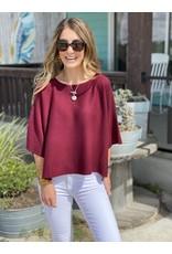 Burgundy Knit Short Sleeve Top