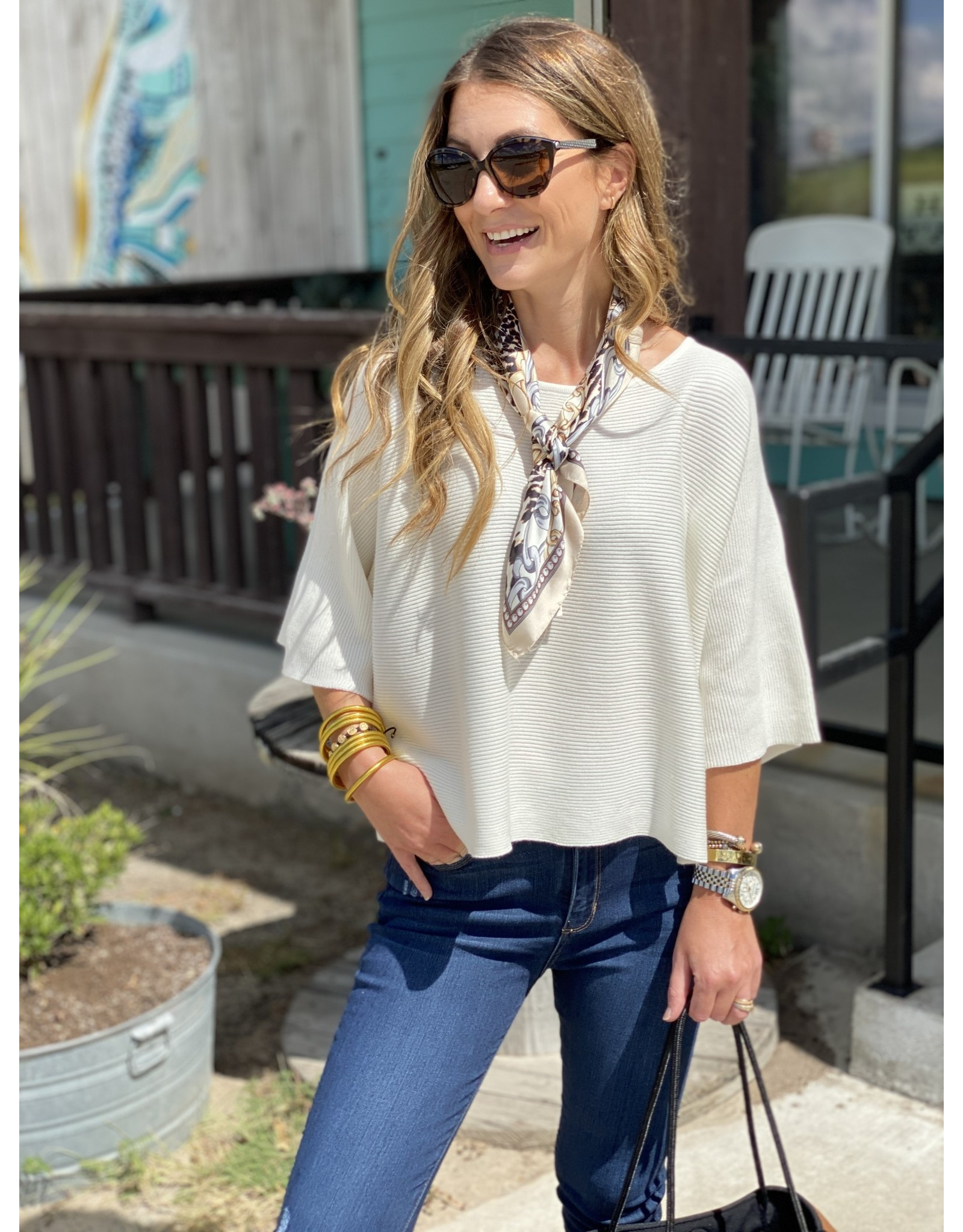 Knit Top Short Sleeve in Cream