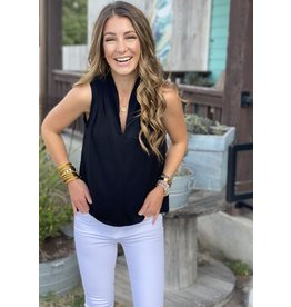 Black V-Neck Sleeveless Top