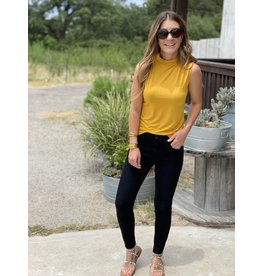 Sleeveless Mock Neck Tee in Mustard