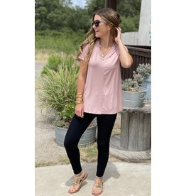 V Neck Short Sleeve Tee in Rose