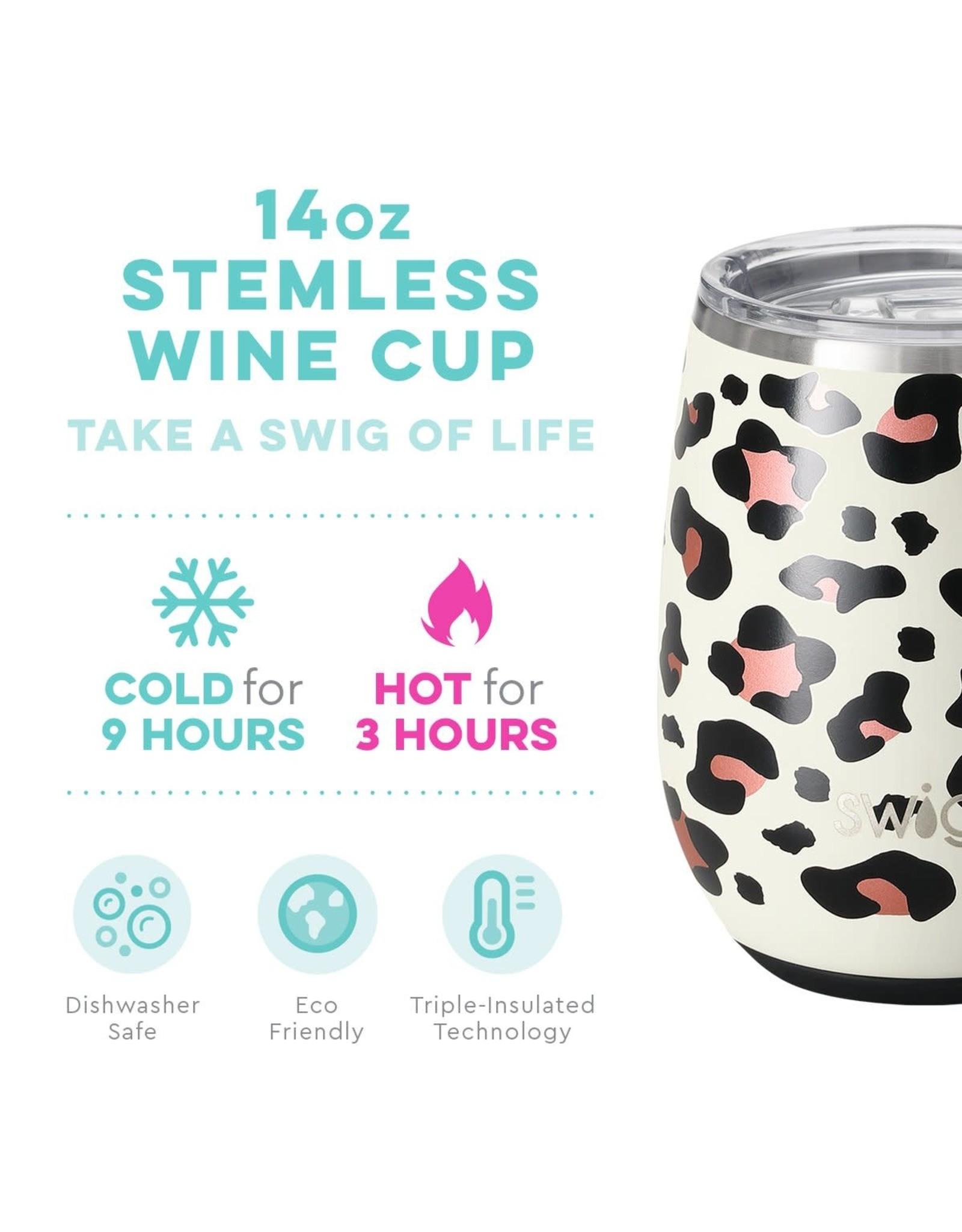 Swig 14oz Stemless Wine Cup -- Luxy Leopard