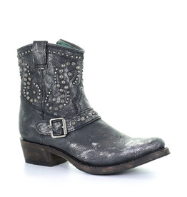 Corral Black Harness & Studs Ankle Boot Round Toe