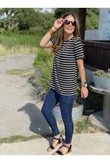 Roundneck Short Sleeve Tee in Black & White Stripe