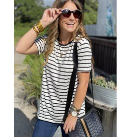 Roundneck Short Sleeve Tee in Off White & Black Stripe