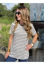 Roundneck Short Sleeve Tee in Off White & Black Stripe