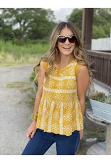 Eyelet Lace Top in Mustard