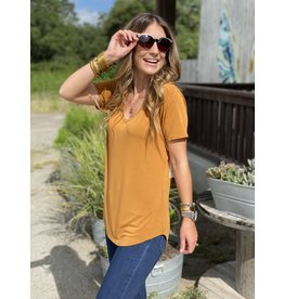 Another Love Valentina V Neck Tee in Ginger
