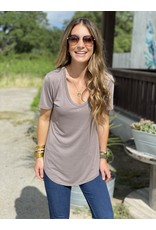 Another Love Valentina V Neck Tee in Driftwood Grey