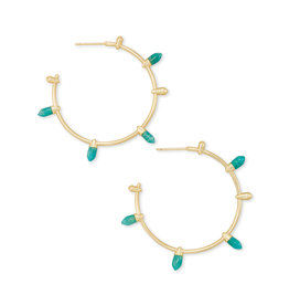 Kendra Scott Freida Hoops Gold Dark Teal Amazonite