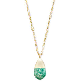 Kendra Scott Freida Necklace Gold Dark Teal Amazonite
