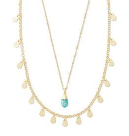 Kendra Scott Freida Multi Gold Dark Teal Amazonite