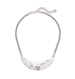 Kendra Scott Kaia Collar Necklace Silver White Howlite