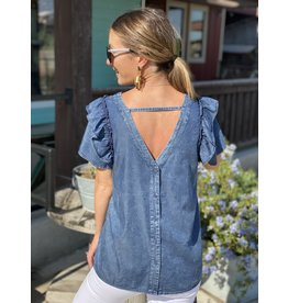 Ruffle Sleeve Denim - Button Back Top