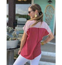 Red & White Stripe Top w/Zipper Detail
