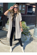 Another Love Short Sleeve Cardigan in Pebble