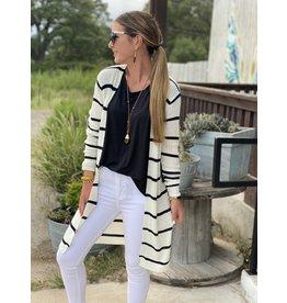 Ribbed XLong Open Cardigan white w/black stripe