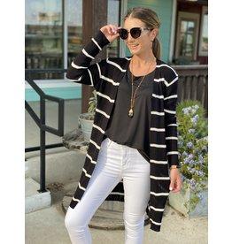 Black w/White Stripe Ribbed Cardigan