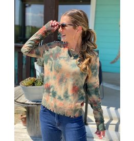 Olive Tie Dye Distressed Sweater