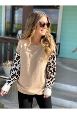 Khaki Tan Sweater w/Leopard Sleeves