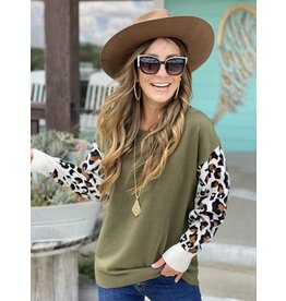 Army Green Sweater w/Leopard Sleeves