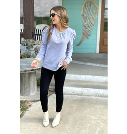 Puff Sleeve Terry Sweatshirt in Grey