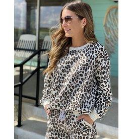 Off White Leopard Terry Sweatshirt